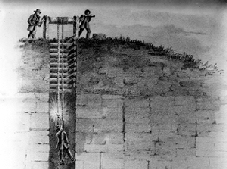 Illustration of the the first lead mining in the 1800s near Dubuque, in Dubuque County, Iowa. From the Calvin image database.