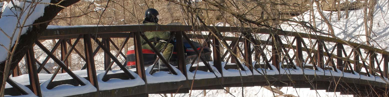 snowmobile in backbone state park
