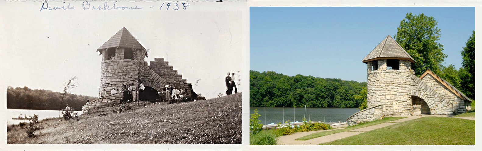 backbone state park, tower in 1938 and present day