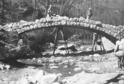 Iconic bridge under construction at Ledges State Park by the Civil Conservation Corps | Iowa DNR