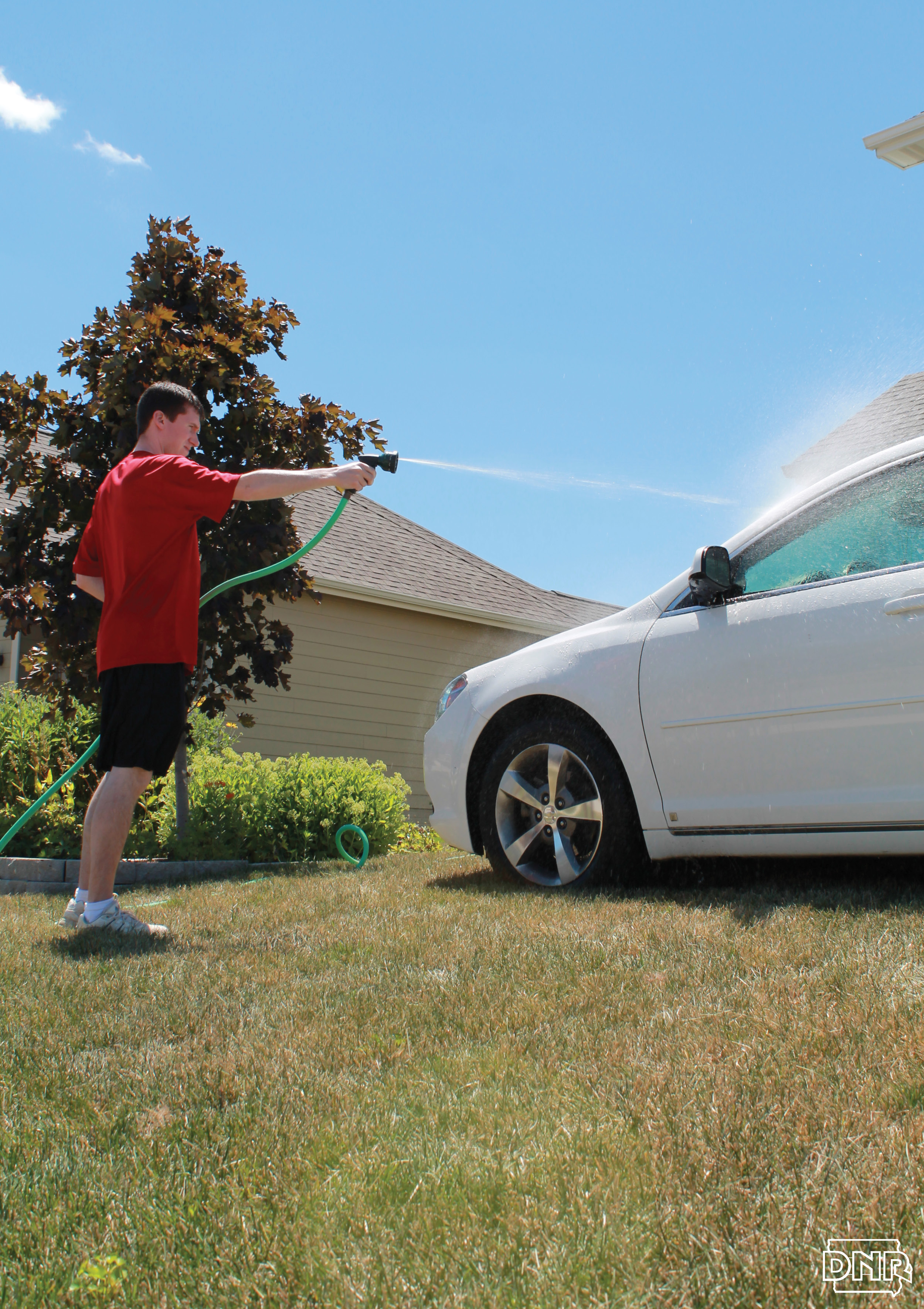 If you wash your car at home, park it on the grass to keep soaps and cleaners out of the storm sewer - more tips | Iowa DNR
