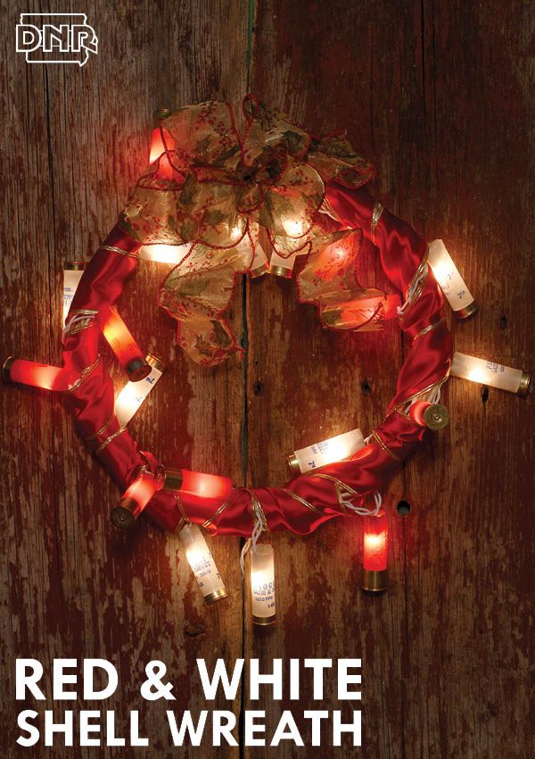 Red and white upcycled DIY shotgun shell wreath instructions from Iowa Outdoors magazine