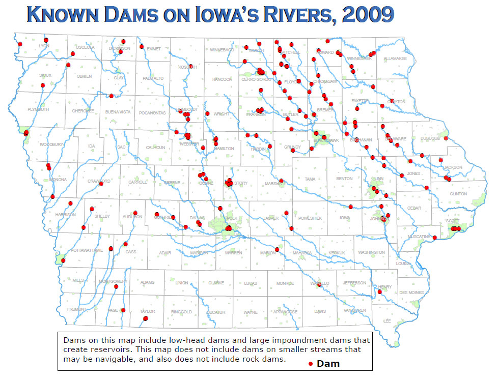 Low-Head Dams across Iowa, map