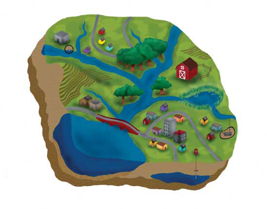 This watershed diagram shows how water runs downhill. Making changes on the land keeps pollutants from rural and urban areas from washing into our water.