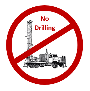Image of a drill rig that indicates no drilling is allowed.