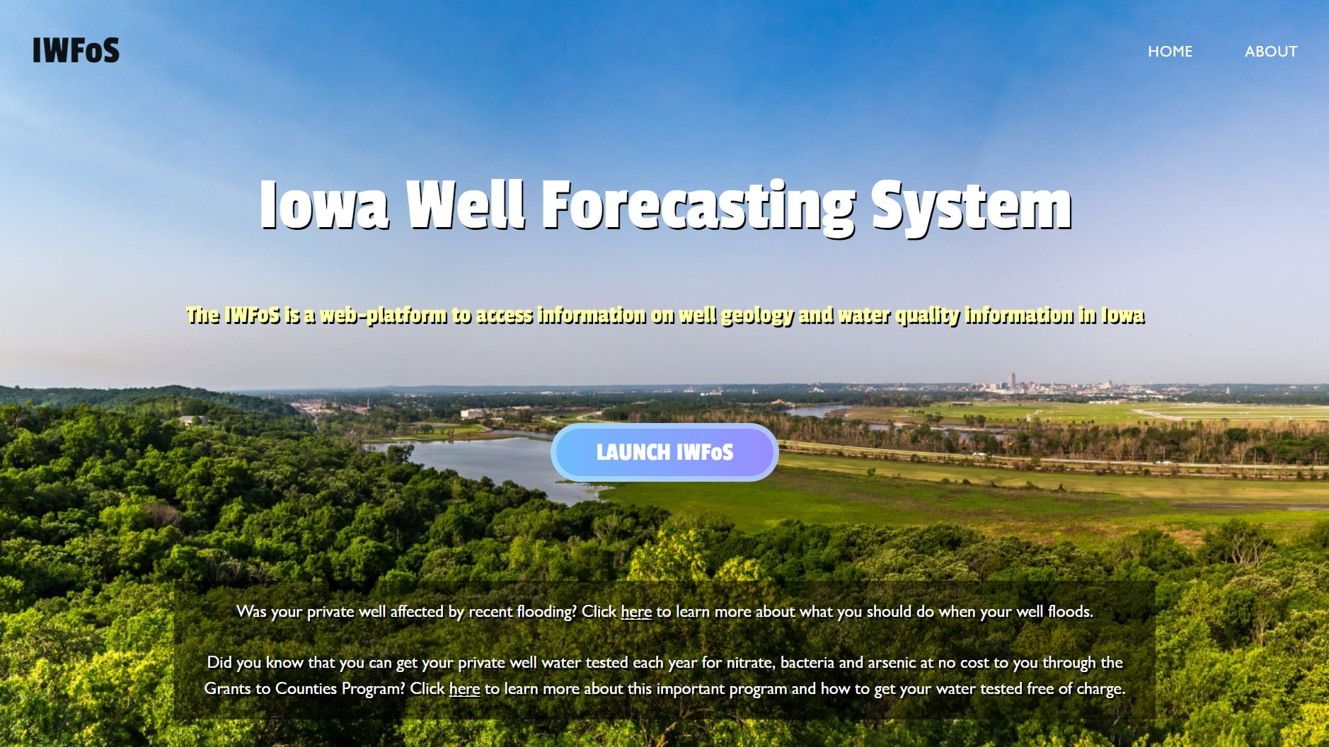 Iowa Well Forecasting System website image.