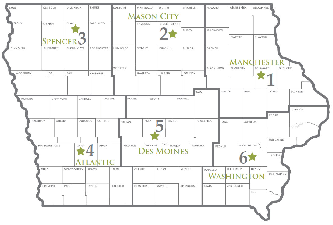 Map of Iowa DNR Field Offices and assigned numbers