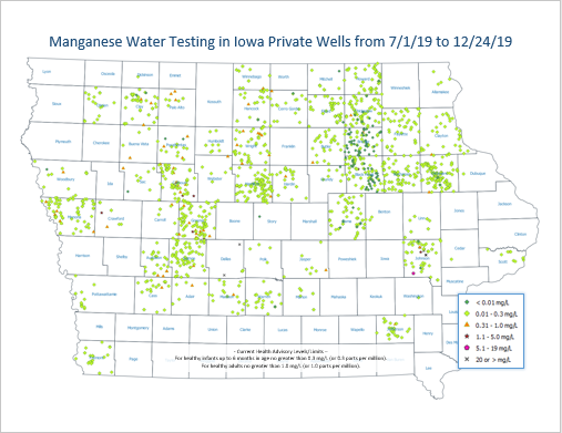 Small image of manganese concentration map related to private well testing - image is linked. in Iowa
