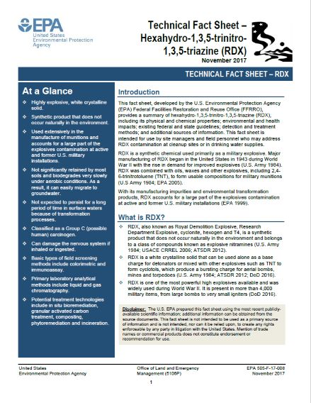 Click to view US EPA Fact Sheet on RDX Contamination.