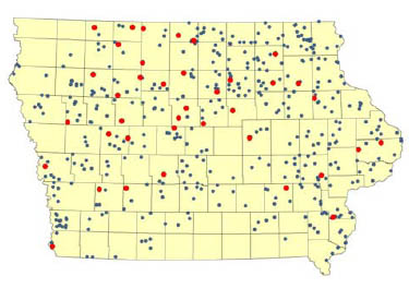 Map of arsenic positive tests in Iowa