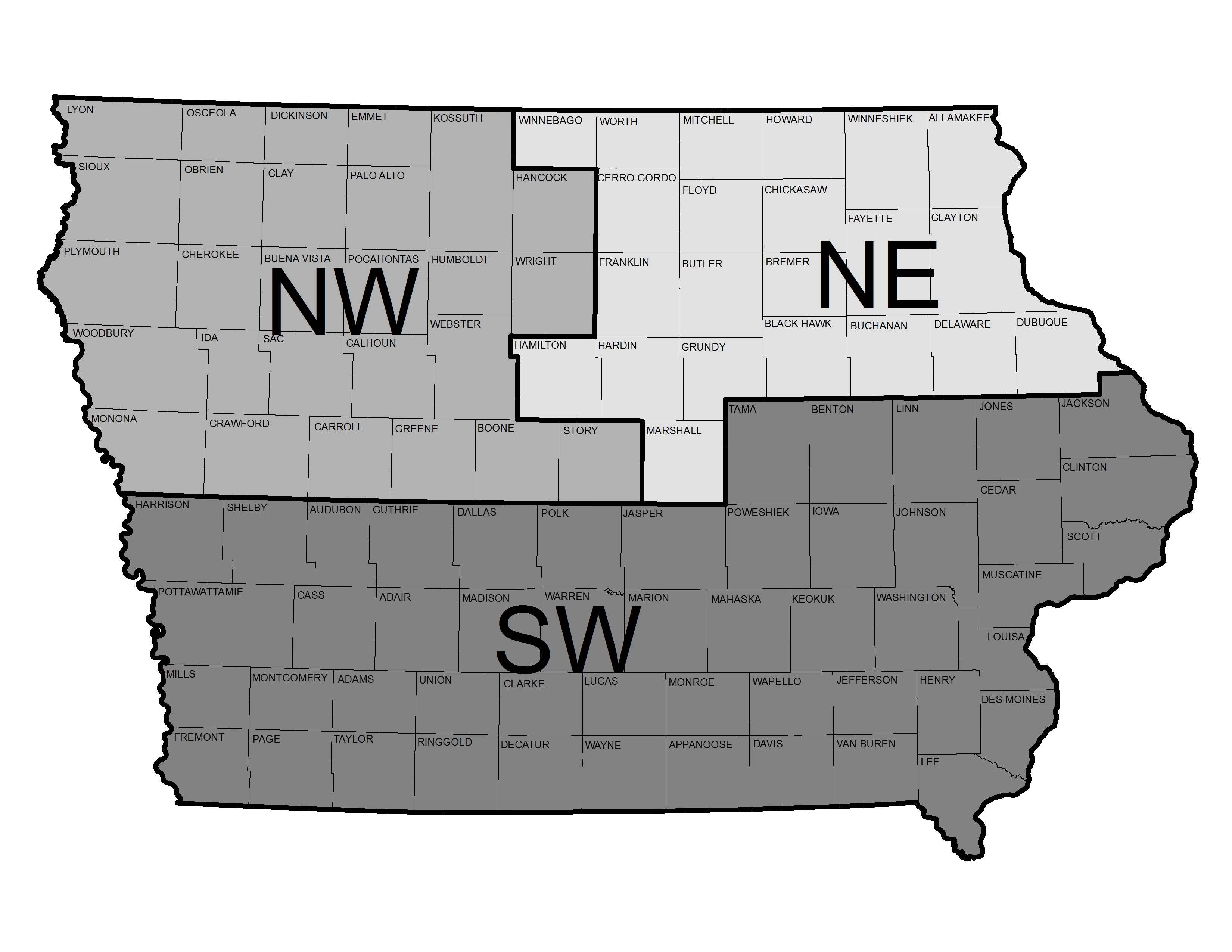 Map of Iowa Districts
