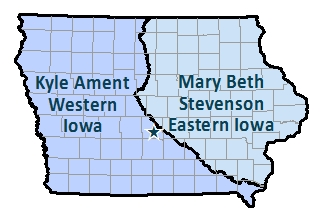 western iowa basin and easten iowa basin boundaries