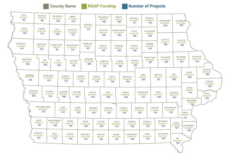 Map showing reap funding summary for counties