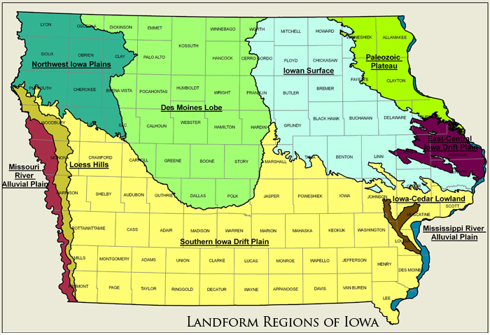 landform regions of iowa shown as a graphical map. specific descriptions are found within the text