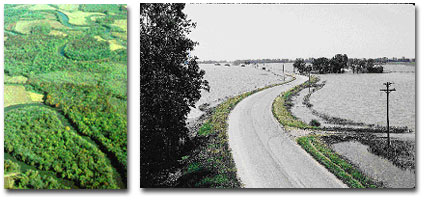 Rivers and streams just naturally flood. The AFO Siting Atlas provides information about alluvial soils and floodplains to help producers avoid building in these areas. NRCS photo on right.