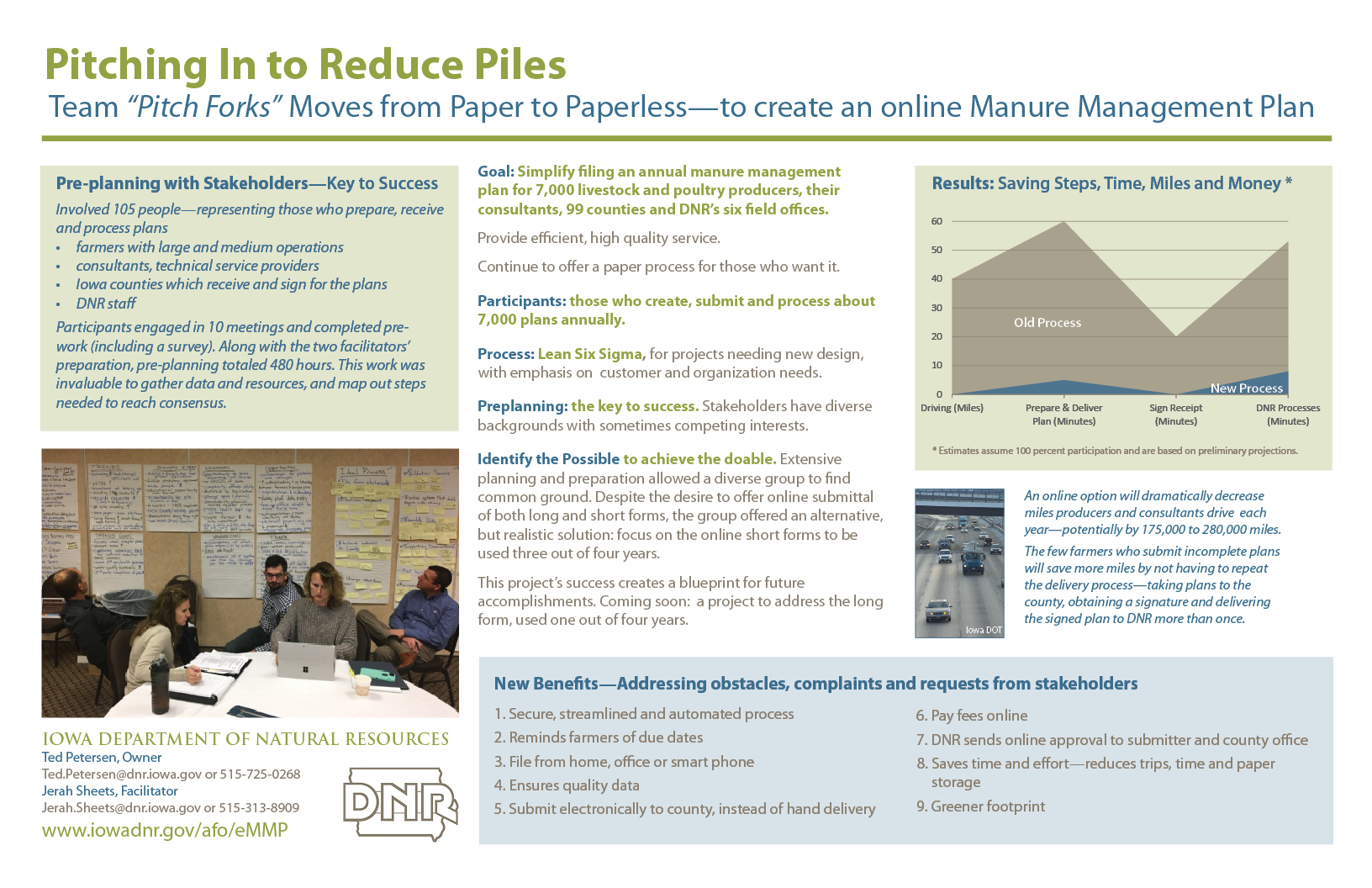 eMMP Poster, Overview of Pre-planning to improve MMP submittal process: Pitching in to Reduce Piles