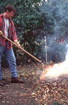 Man burning leaves