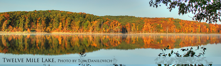 Tweleve Mile Lake with brilliant fall colors
