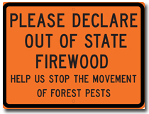 Do not move firewood sign