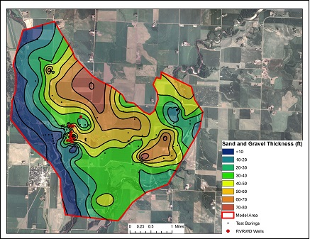 Isopach map showing the sand and gravel thickness for the Hudson aquifer.