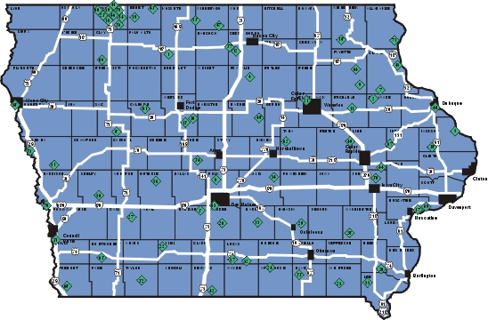 Iowa Recreation Areas Map