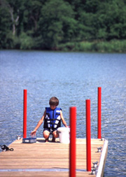 Boy on dock at Viking Lake State Park