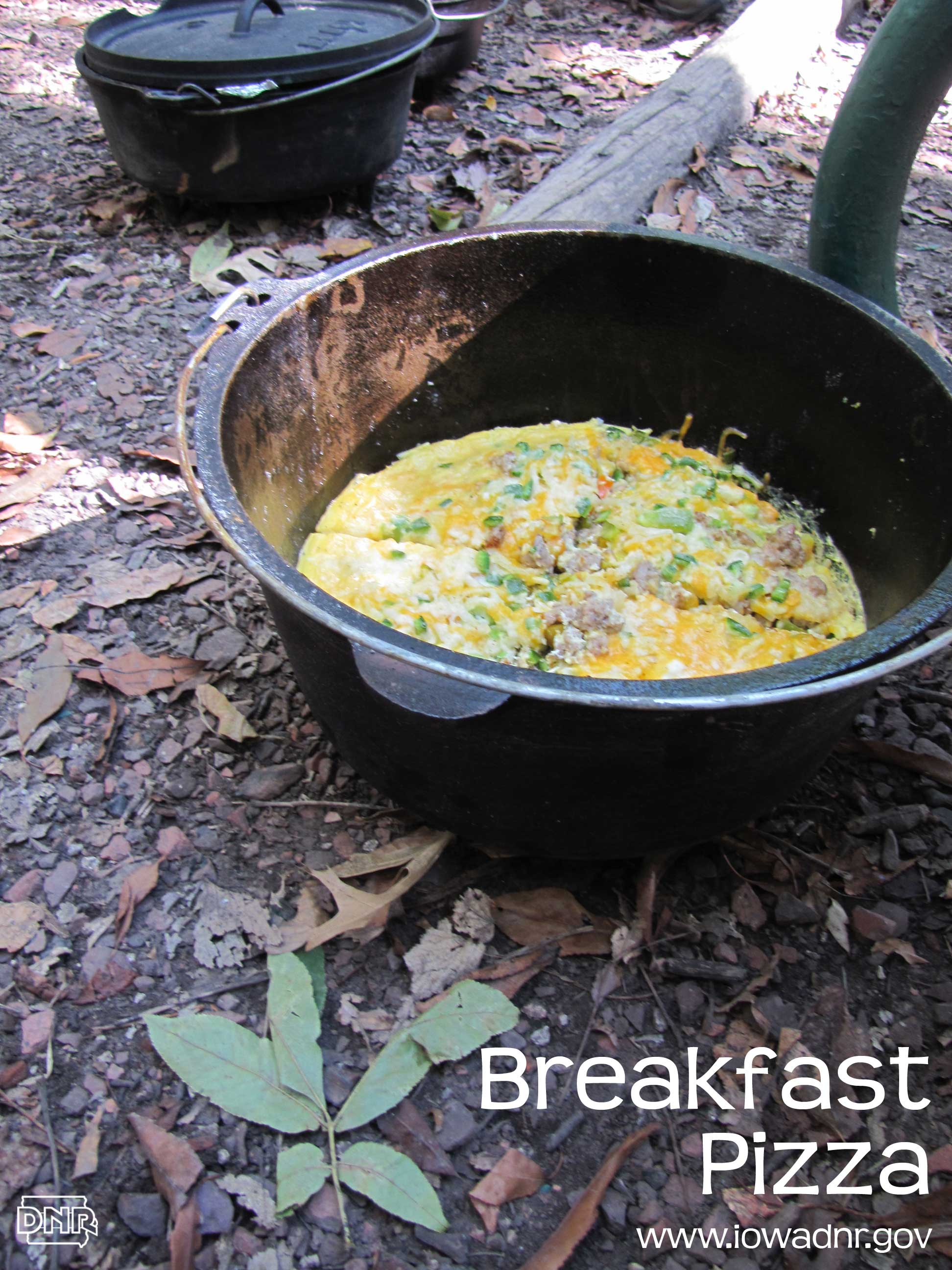 Dutch oven breakfast pizza recipe from the Iowa DNR