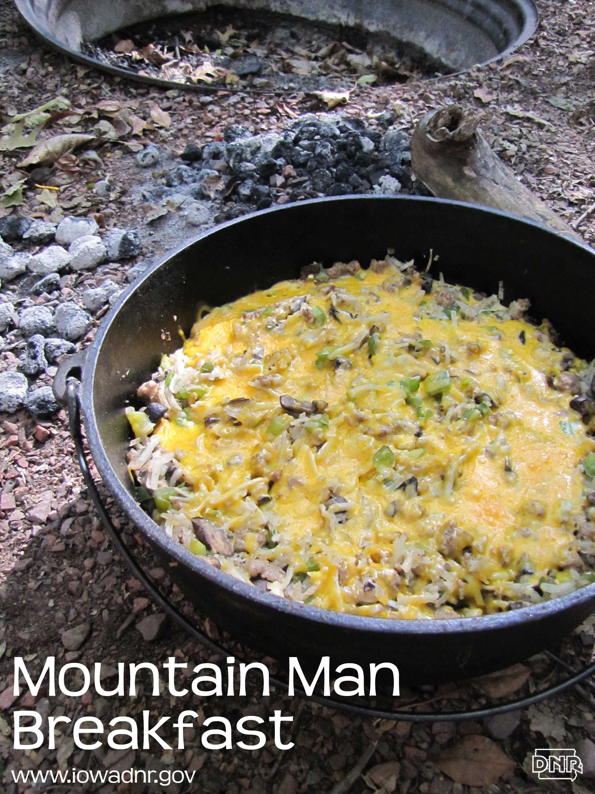Dutch oven mountain man breakfast recipe from the Iowa DNR