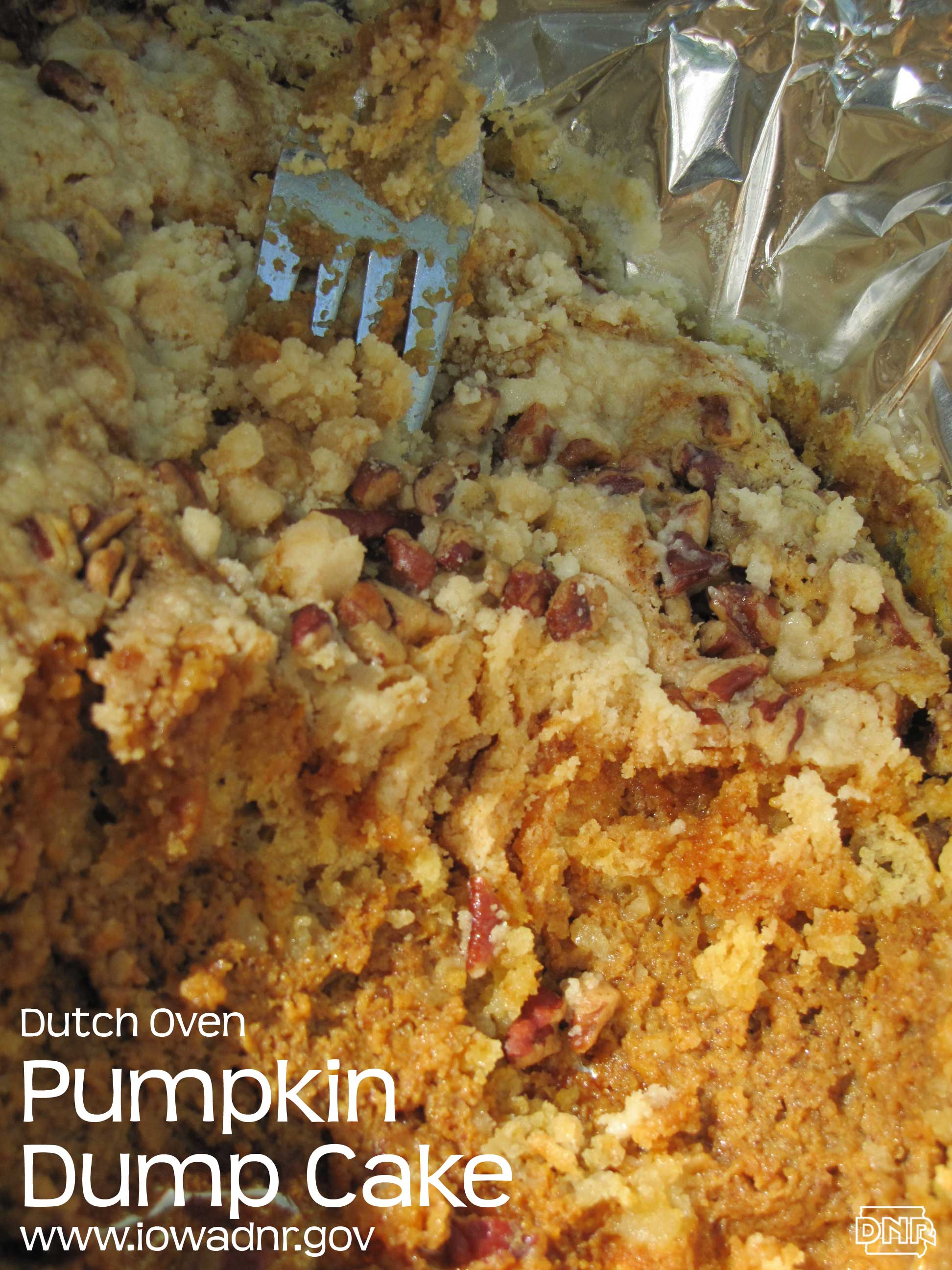 Dutch oven pumpkin dump cake recipe from the Iowa DNR