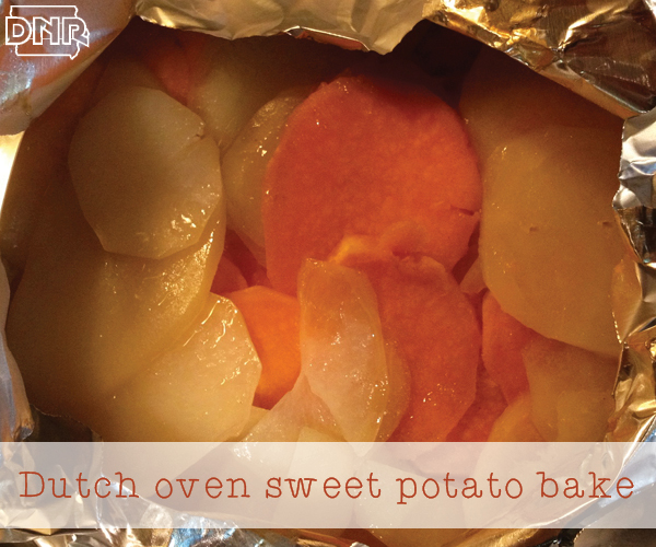 Dutch oven sweet potato bake recipe from the Iowa DNR