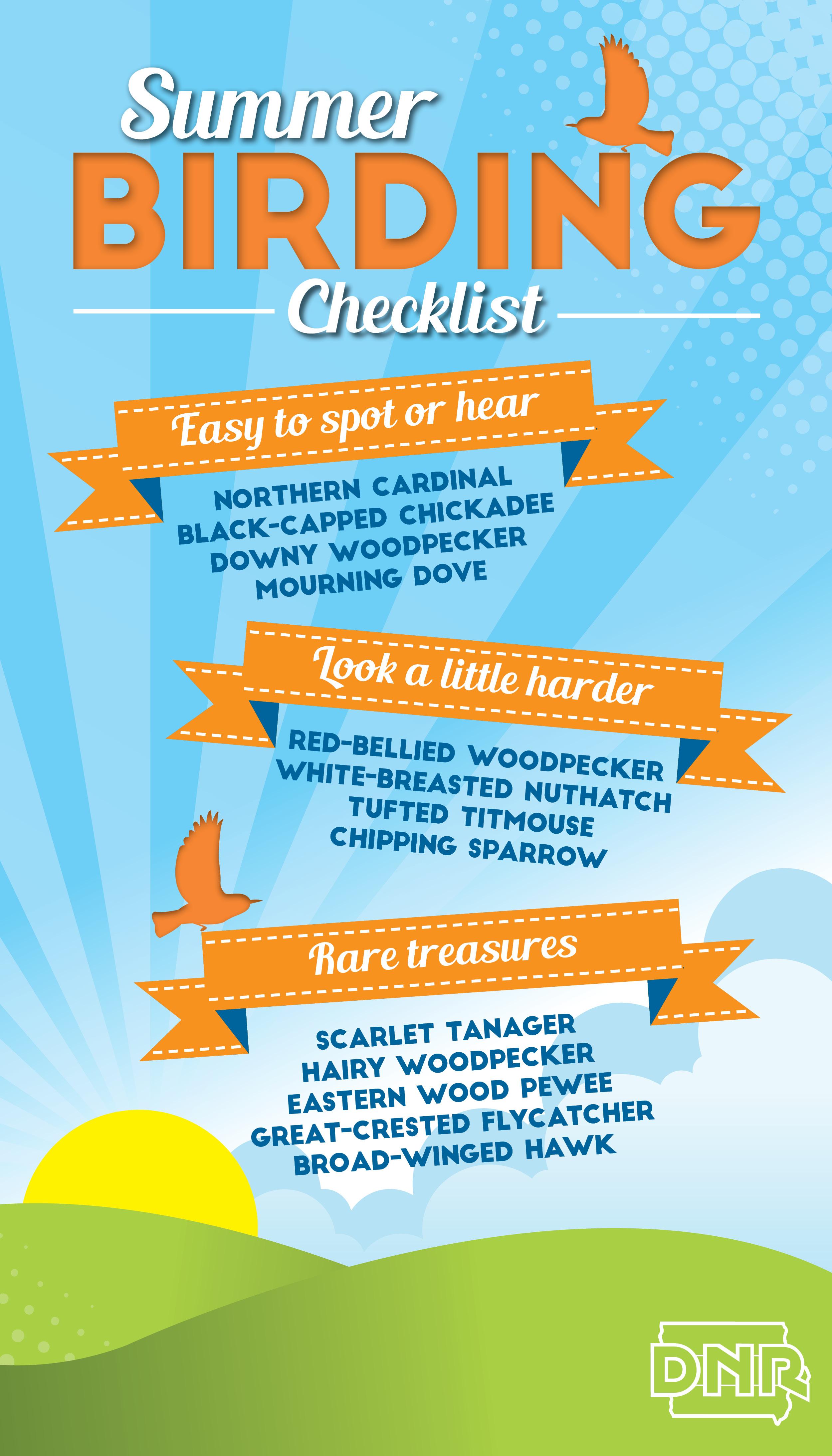 Summer birding checklist - how many can you spot? | Iowa DNR