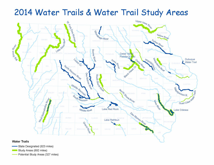 Map of 2014 Water Trails Underway