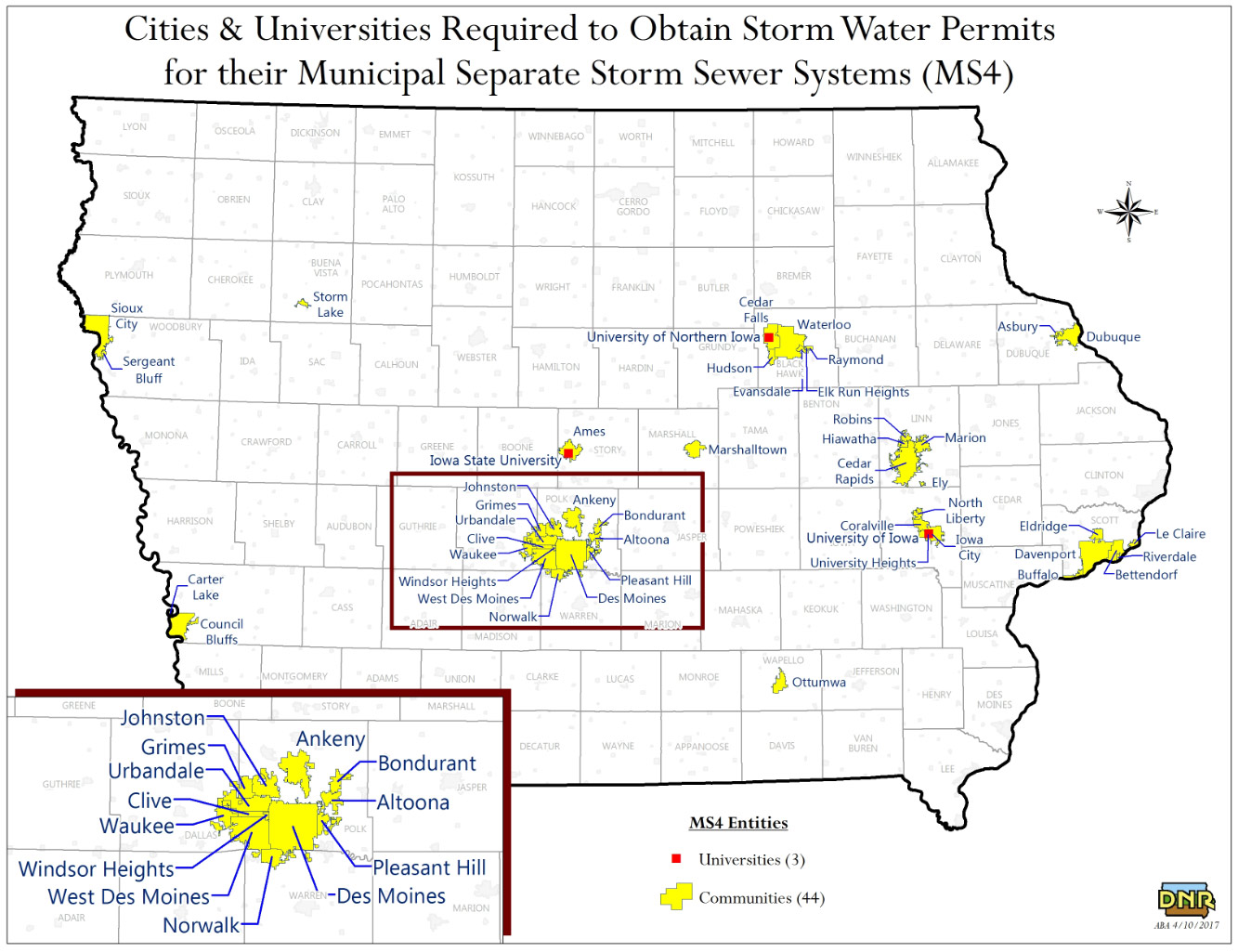 MS 4 Map of Iowa