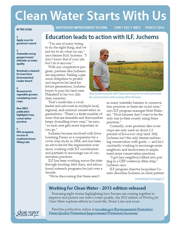 Current issue of Clean Water Starts With Us | Iowa DNR