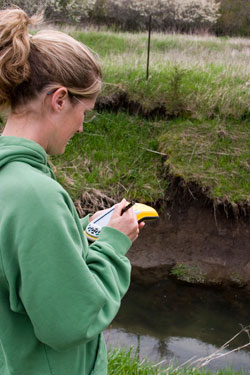 Hand-held GIS units from the DNR can help you complete watershed assessments.