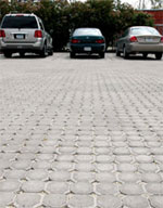 Permeable pavement in this parking lot helps rainwater soak into the ground instead of running off.