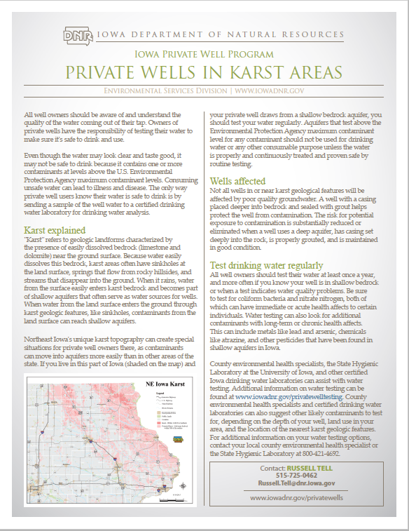 NE Iowa Karst Fact Sheet