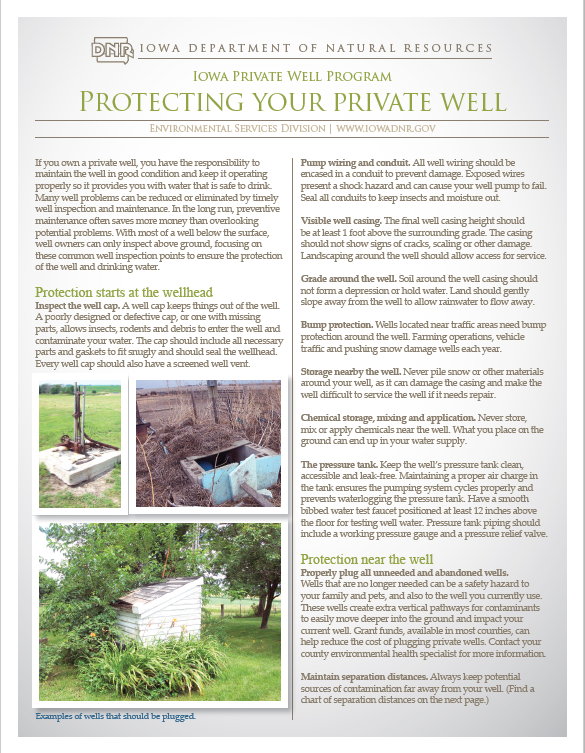 Iowa DNR Protecting Your Well Fact Sheet image