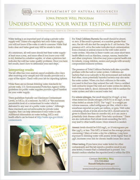 Understanding Your Water Test Fact Sheet