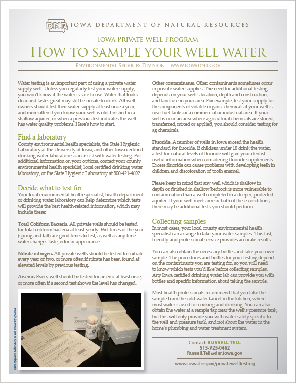 How to Sample Your Well Water Fact Sheet