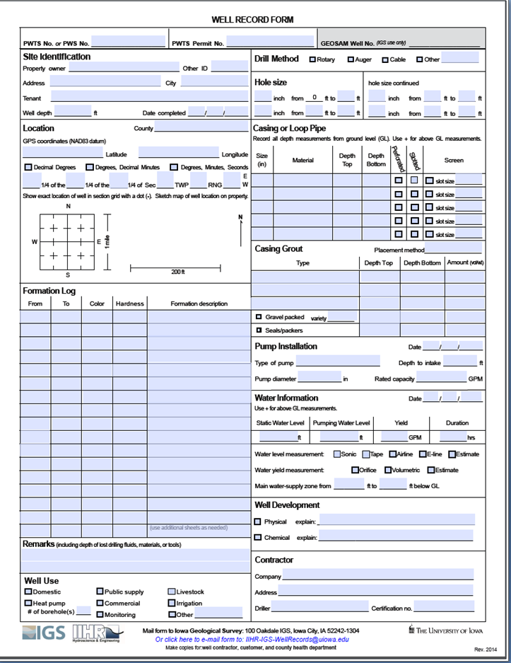 Screen image and link for IGS/IIHR Well Log Form