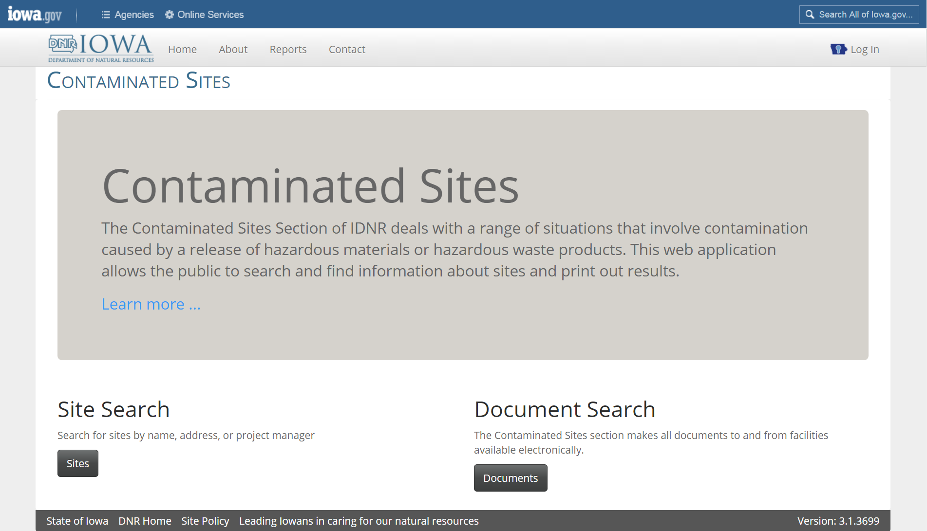 Image of Contaminated Sites Database screen image