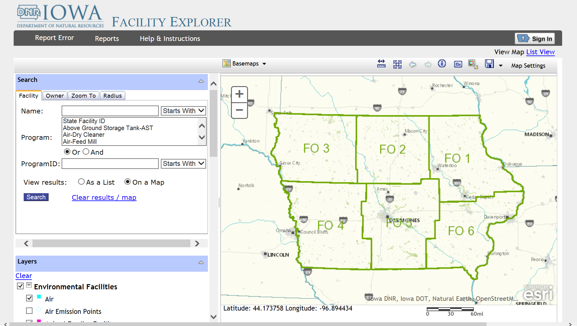 Link for Iowa DNR Facility Explorer and image