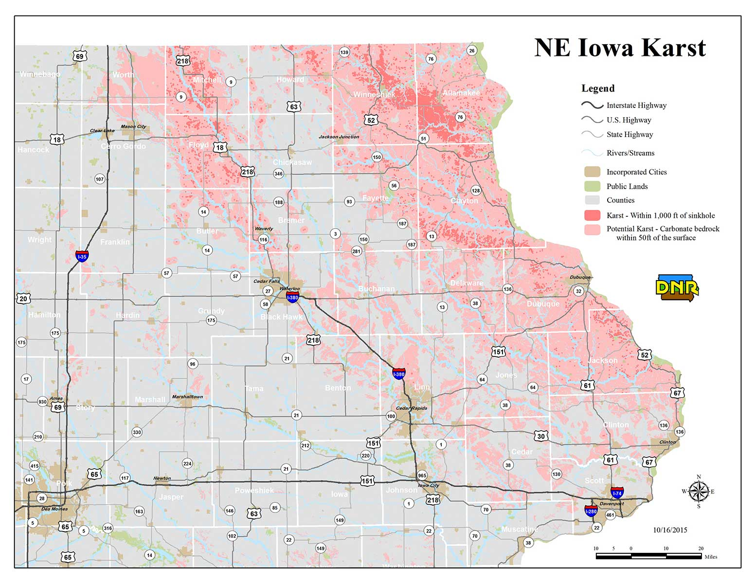 NE Iowa Karst Map