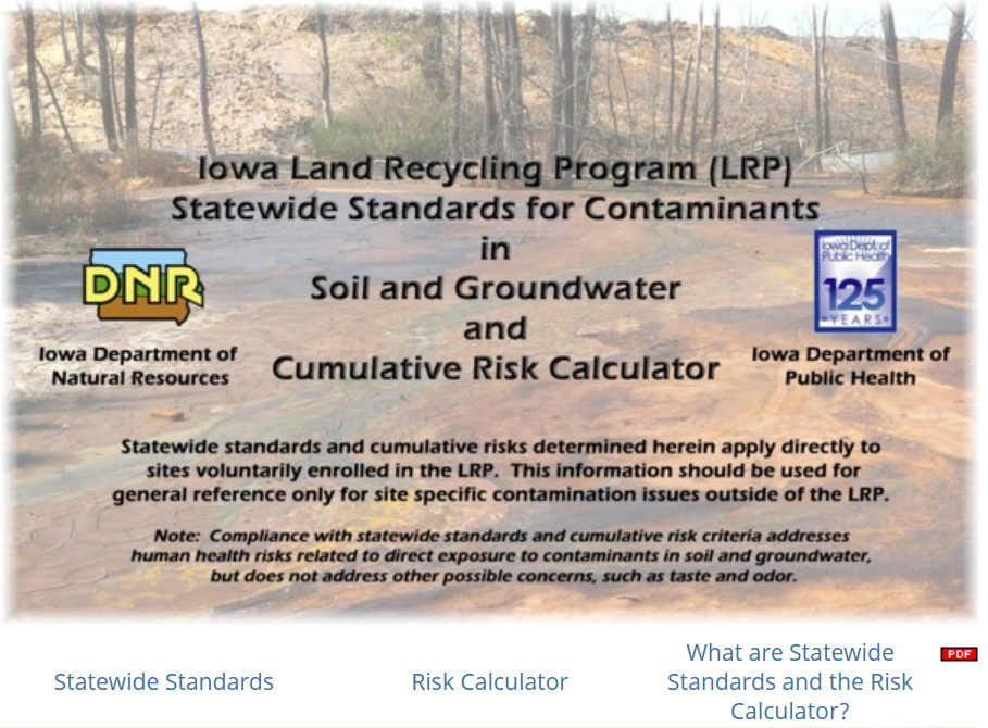 Iowa DNR Risk Calculator web screen image