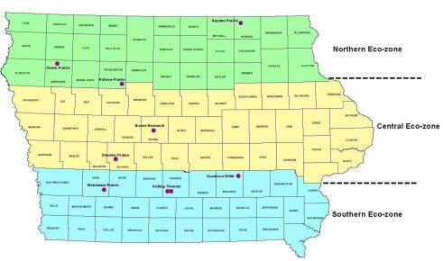 EcoZones of Iowa showing Northern, Central and Southern